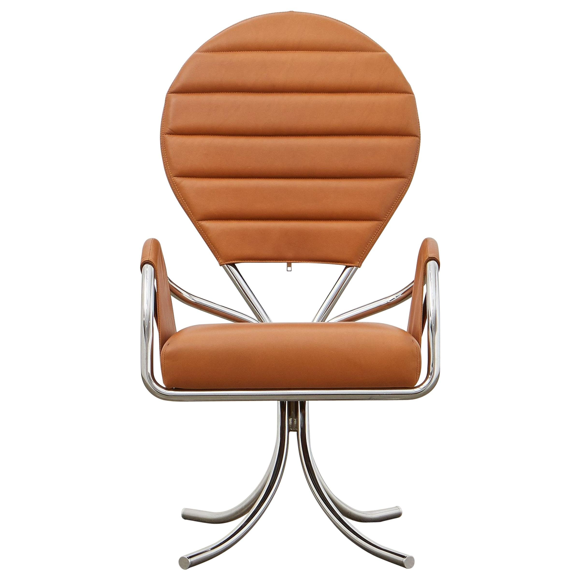 PH Pope Chair, Chrome, Leather Extreme Walnut