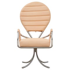 PH Pope Chair, chrome, leather natural un-dyed