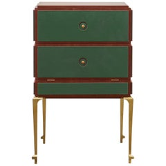 PH Small Drawer Chest, brass legs, mahogany veneer, green leather, ash drawers