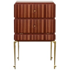 PH Small Drawer Chest, Brass Legs, Mahogany Veneer, White Ashwood Drawers