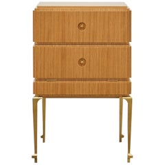PH Small Drawer Chest, Brass Legs, Natural Oak Veneer, White Ashwood Drawers