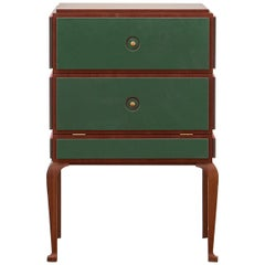 PH Small Drawer Chest, Wood Legs, Mahogany Veneer, Green Leather, Ash Drawers