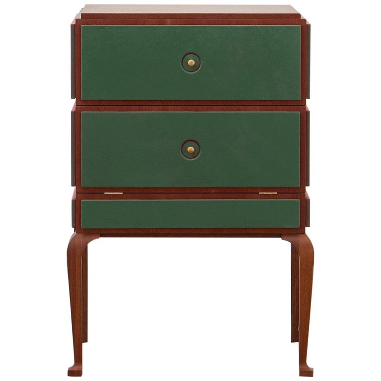 PH Small Drawer Chest, Wood Legs, Mahogany Veneer, Green Leather, Ash Drawers For Sale