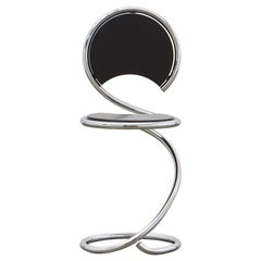 PH Snake Chair, chrome, black painted satin matt, wood seat/back, visible tubes
