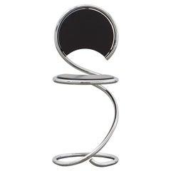 PH Snake Chair, chrome, black painted satin matt, wood seat/back, visible tubes