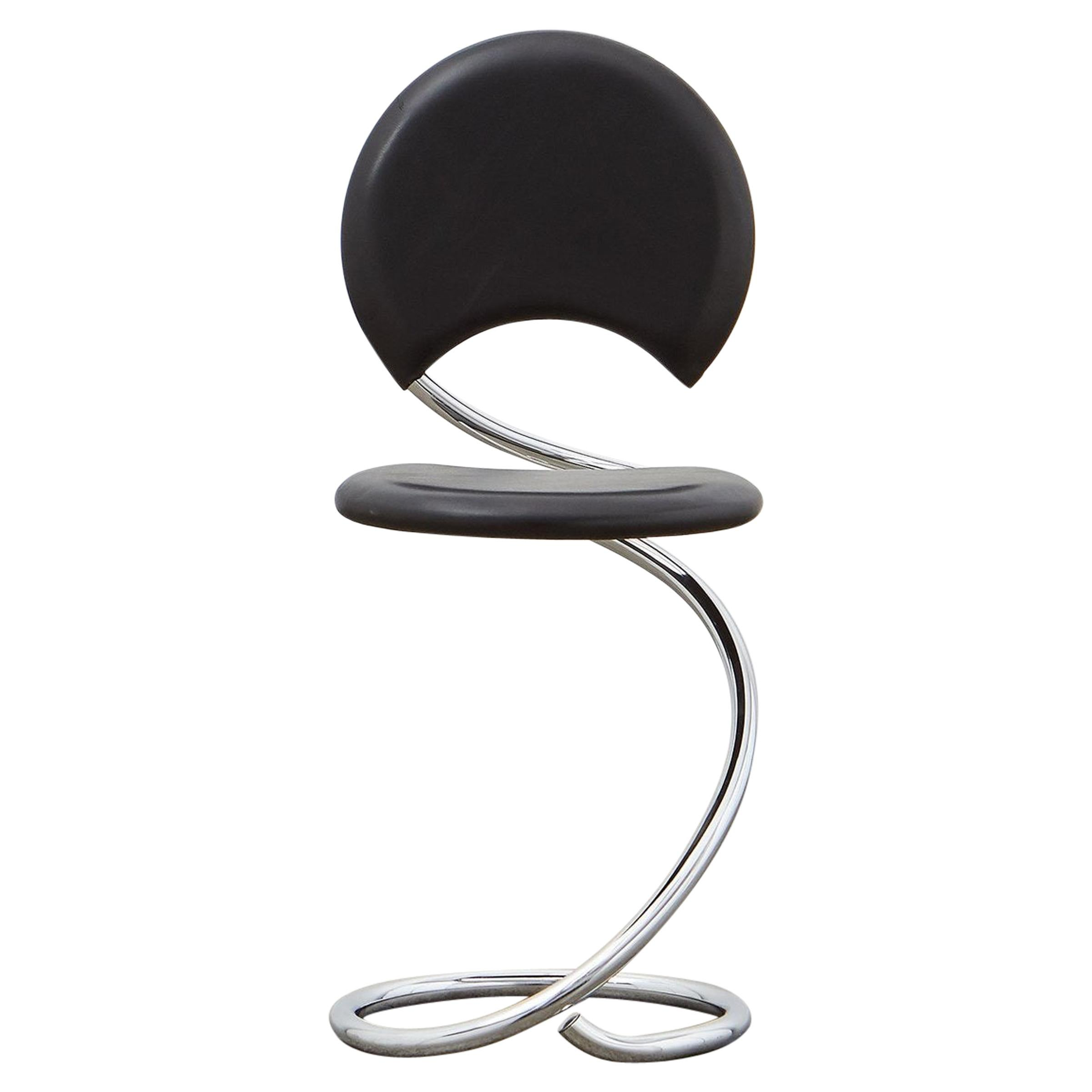 PH Snake Chair, Chrome, Leather Extreme Black, Full Leather Upholstery