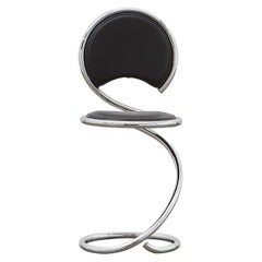PH Snake Chair, Chrome, Leather Extreme Black, Leather Upholstery, Visible Tubes