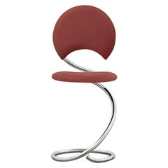 PH Snake Chair, Chrome, Leather Extreme Indianred, Full Leather Upholstery