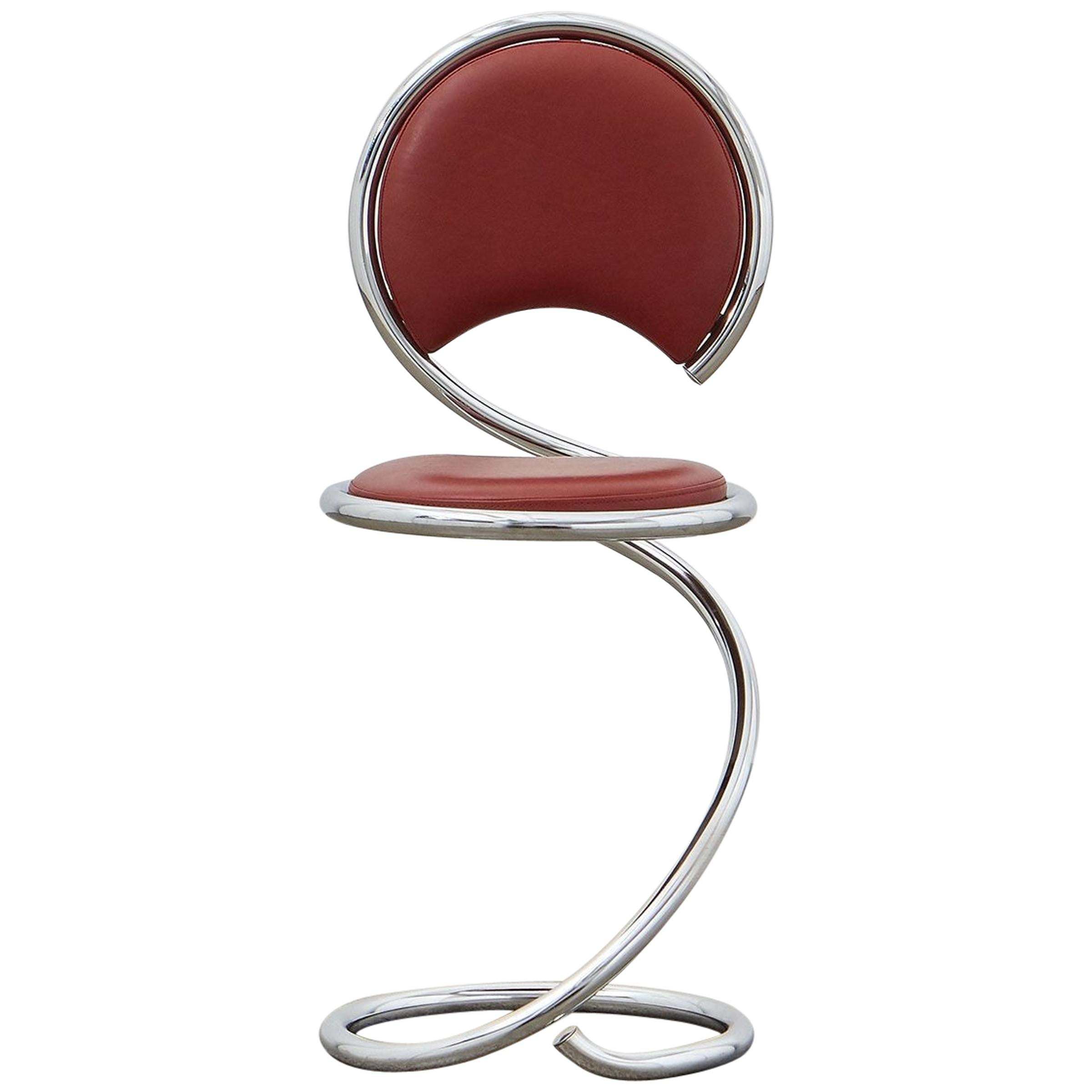PH Snake Chair, Chrome, Leather Extreme Indianred, Leather Upholstery, Visible