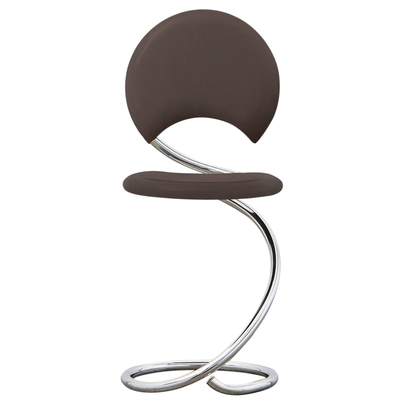PH Snake Chair, Chrome, Leather Extreme Mocca, Full Leather Upholstery