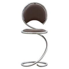 PH Snake Chair, Chrome, Leather Extreme Mocca, Leather Upholstery, Visible Tubes