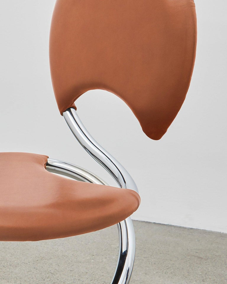 Bauhaus PH Snake Chair, Chrome, Leather Extreme Walnut, Full Leather Upholstery For Sale