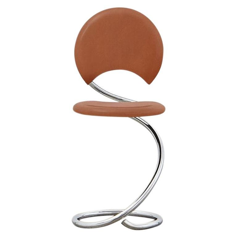 PH Snake Chair, Chrome, Leather Extreme Walnut, Full Leather Upholstery For Sale