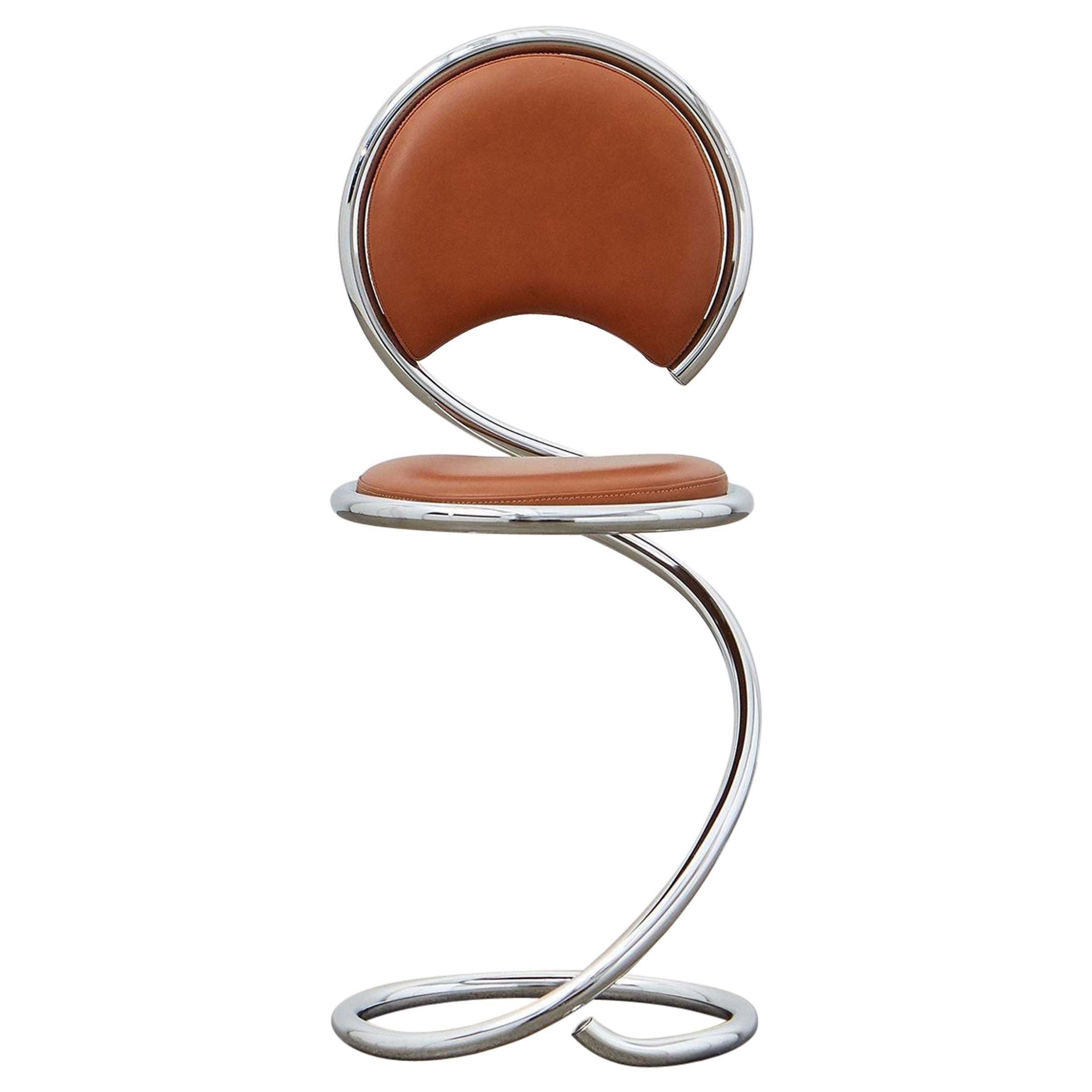 PH Snake Chair, Chrome, Leather Extreme Walnut, Leather Upholstery, Visible Tube