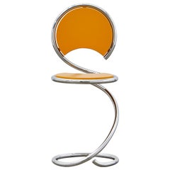 PH Snake Chair, chrome, yellow painted satin matt, wood seat/back, visible tubes