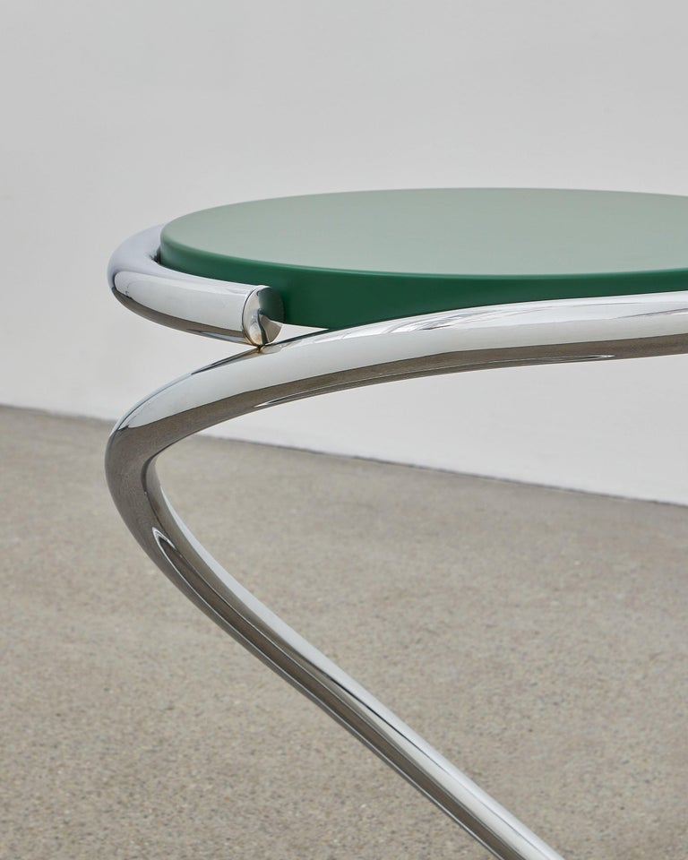 Bauhaus PH Snake Stool, Chrome, Green Painted Satin Matt, Wood Seat, Visible Tubes For Sale