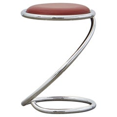 PH Snake Stool, chrome, leather extreme indianred, leather upholstery, visible