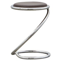 Ph Snake Stool, Chrome, Leather Extreme Mocca, Leather Upholstery, Visible Tubes