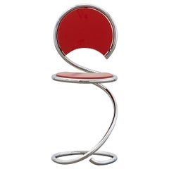 PH Snake Stool, Chrome, Red Painted Satin Matt, Wood Seat, Visible Tubes
