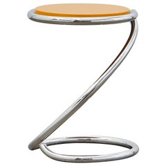 PH Snake Stool, chrome, yellow painted satin matt, wood seat, visible tubes
