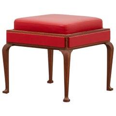 Ph Stool, Wood Legs, Mahogany Veneer, Red Lamb Leather on Panels and Seat