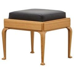 PH Stool, wood legs, natural oak veneer, extreme black leather seat