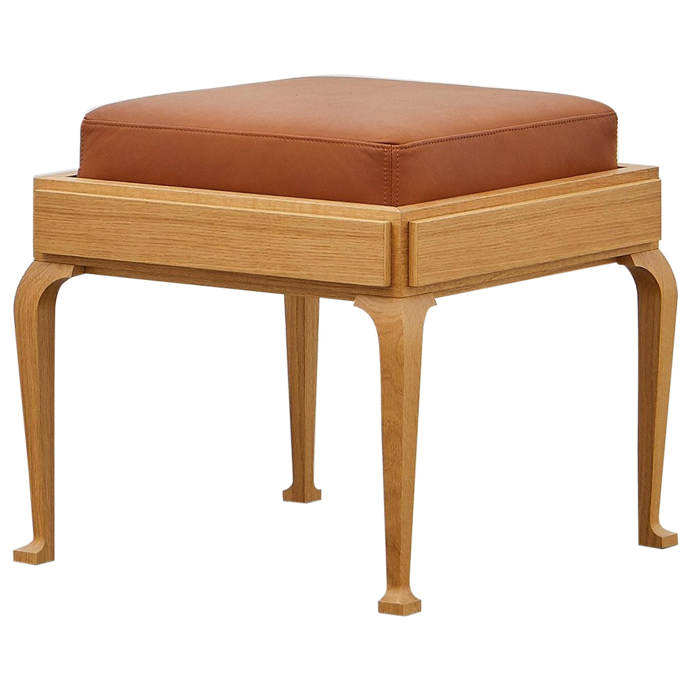 PH Stool, wood legs, natural oak veneer, extreme walnut leather seat