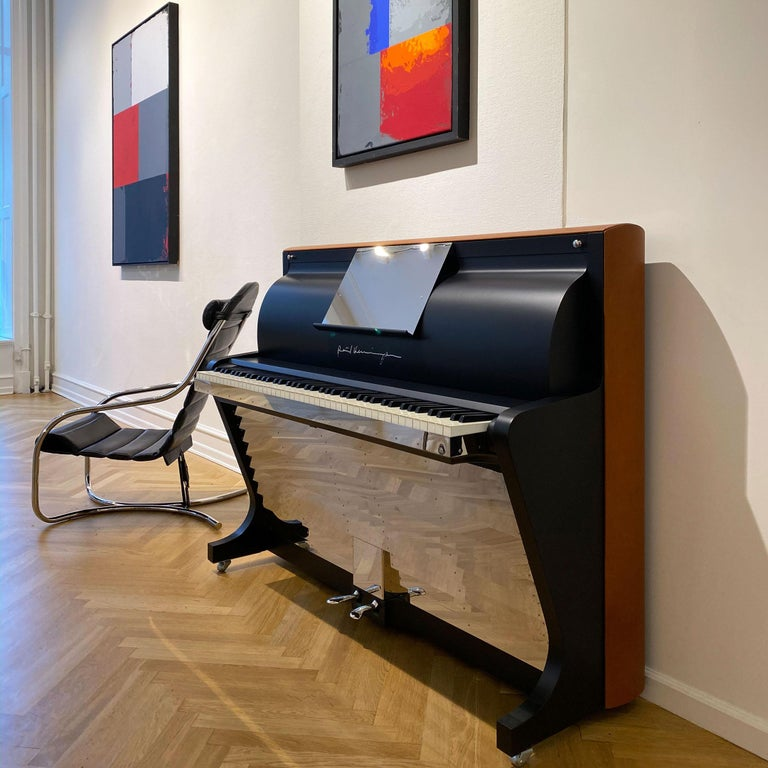 Bauhaus PH Upright Piano, Cognac Color Leather with Chromed Metal Parts and Wood Panels For Sale