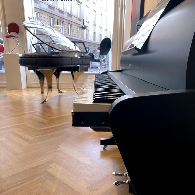 PH Upright Piano, Cognac Color Leather with Chromed Metal Parts and Wood Panels In Excellent Condition For Sale In Copenhagen, DK