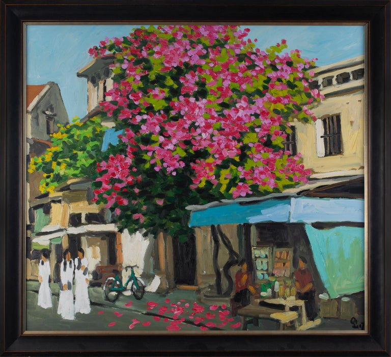 Pham Luan Landscape Painting - 'Hang Be Street' Expressionist Everyday Street Scene with Women and Trees