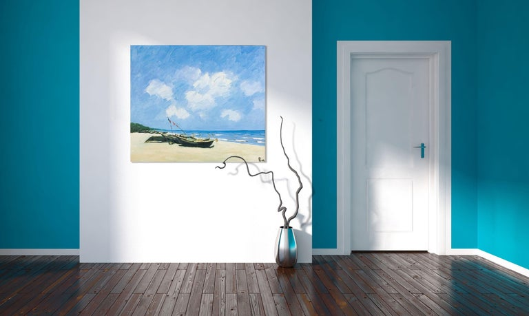 'Sav Jon Beach' is a large framed Impressionist oil on canvas seascape painting created by Vietnamese artist Pham Luan in 2004. Featuring a soft palette made of blue, beige and green, the painting is a true portrait of one of Vietnam's many stunning