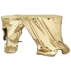 """Phantom Table"" Polished Brass Console Table Entry Table by Zhipeng Tan"
