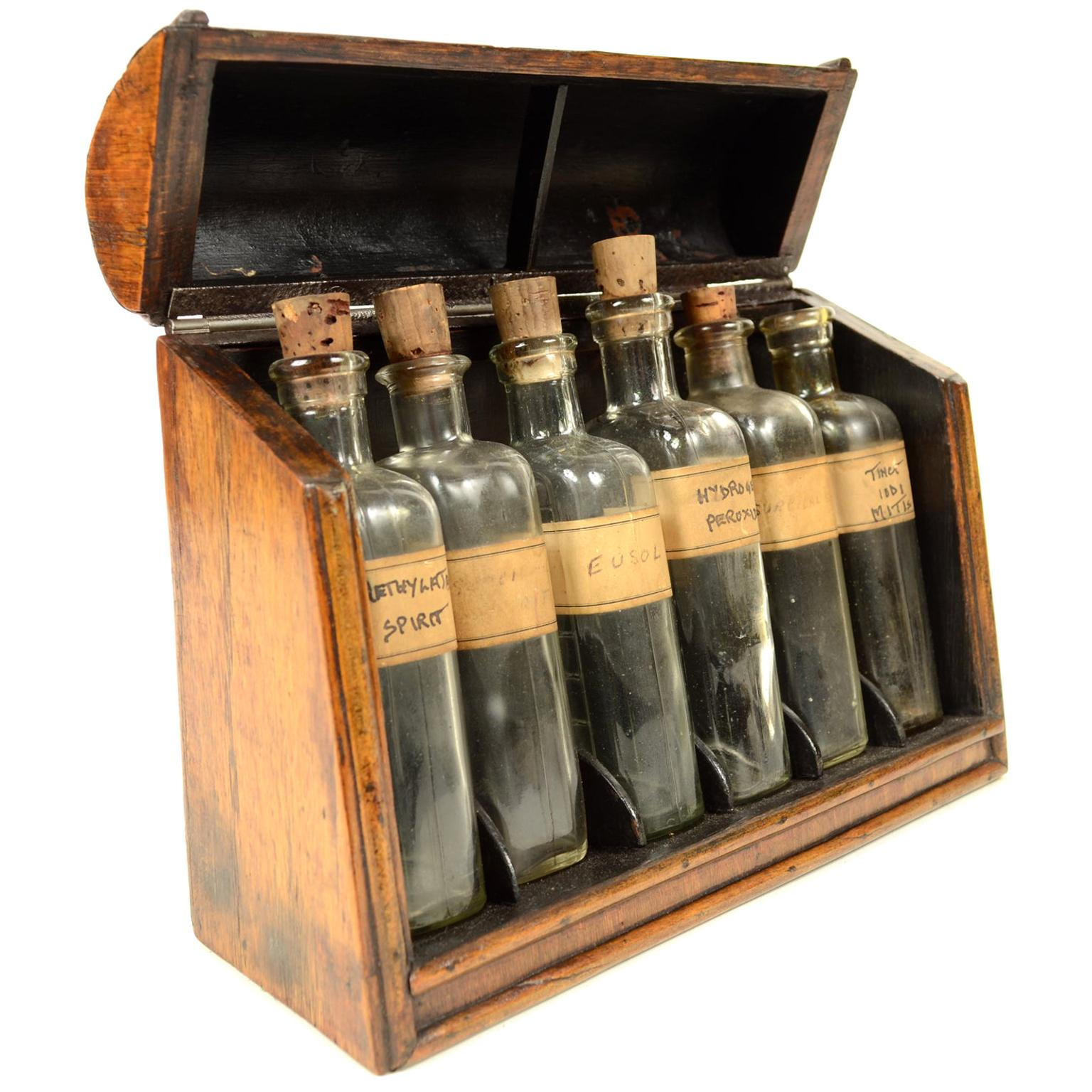 Pharmaceutical Wooden Box with Six Glass Bottles, small apothecary set UK 1860
