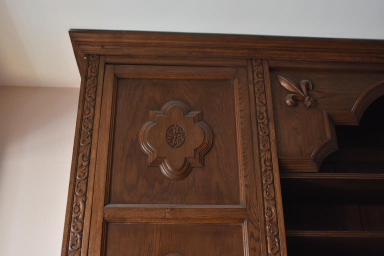 Carved Pharmacy Woodwork Used as Library, circa 1900 For Sale