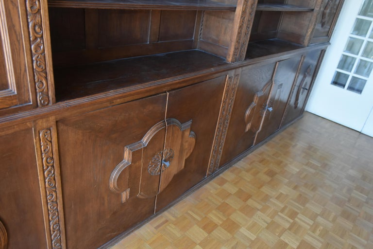 Oak Pharmacy Woodwork Used as Library, circa 1900 For Sale