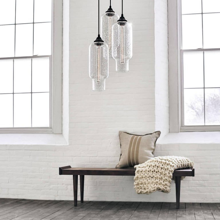 Pharos Smoke Handblown Modern Glass Pendant Light, Made in the USA For Sale 5