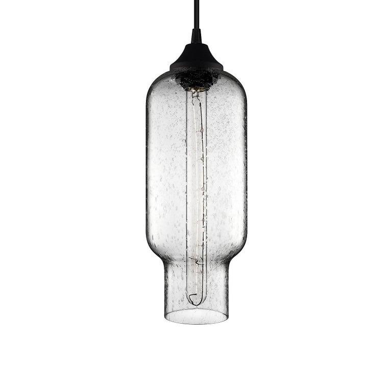 Pharos Smoke Handblown Modern Glass Pendant Light, Made in the USA For Sale 2