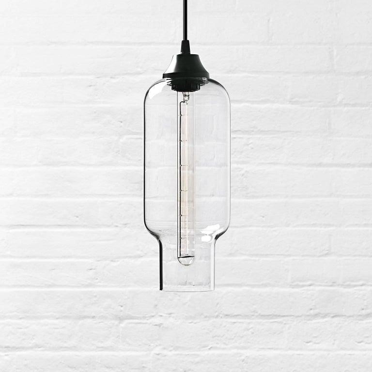 Pharos Smoke Handblown Modern Glass Pendant Light, Made in the USA For Sale 3