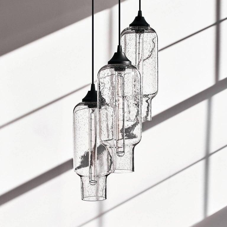 Pharos Smoke Handblown Modern Glass Pendant Light, Made in the USA For Sale 4