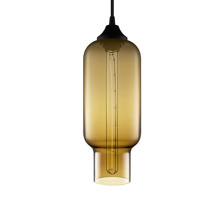 Pharos Smoke Handblown Modern Glass Pendant Light, Made in the USA For Sale