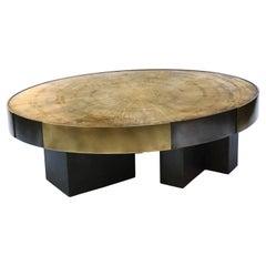 Phaux Brass Coffee Table, Signed by Stefan Leo