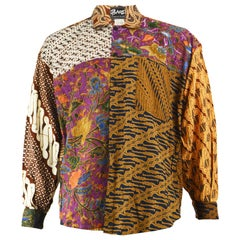 Phaze Hand Printed Indonesian Batik Patchwork Men's Vintage Long Sleeve Shirt