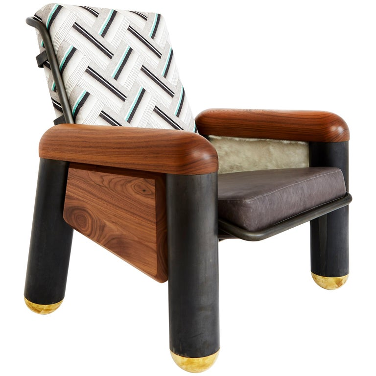 """Phe-Phe Club Chair"" Blackened Steel, Brass and Walnut Wood Lounge Chair For Sale"