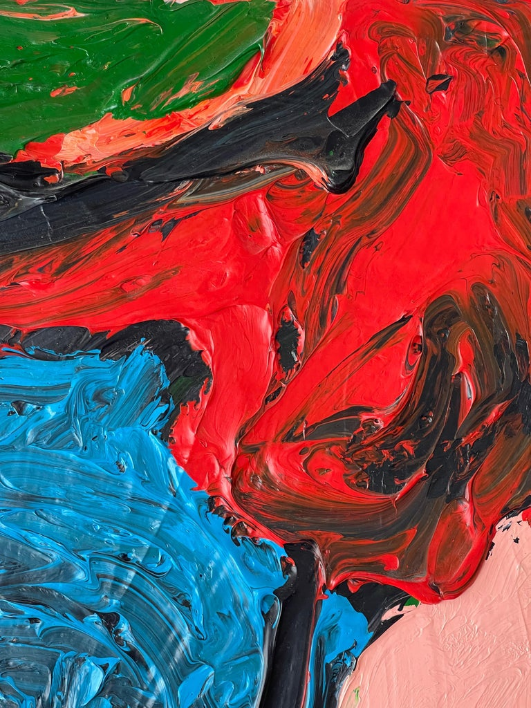 A large abstract work by the noted California artist Phe Ruiz. In good condition. Dimensions are 35 x 60 inches. It is signed and dated lower left 2002.