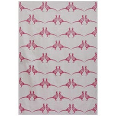 'Pheasant' Contemporary, Traditional Fabric in Pink on Cream