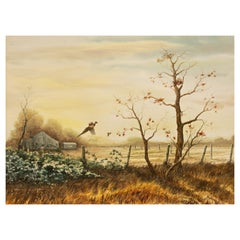 """Pheasant in Flight"" Painting by Sporting Artist Gerald Pettit"