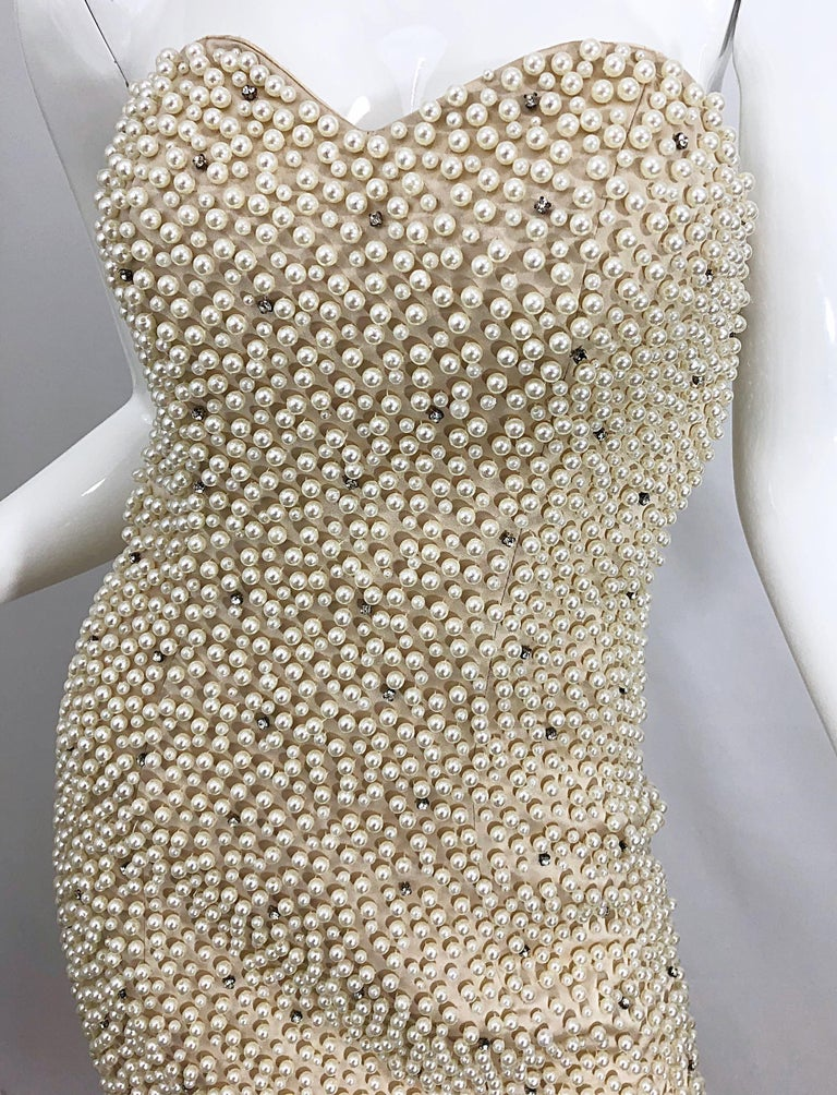 Phenomenal 1990s Couture Pearl + Rhinestone Encrusted Strapless Beige 90s Gown For Sale 6