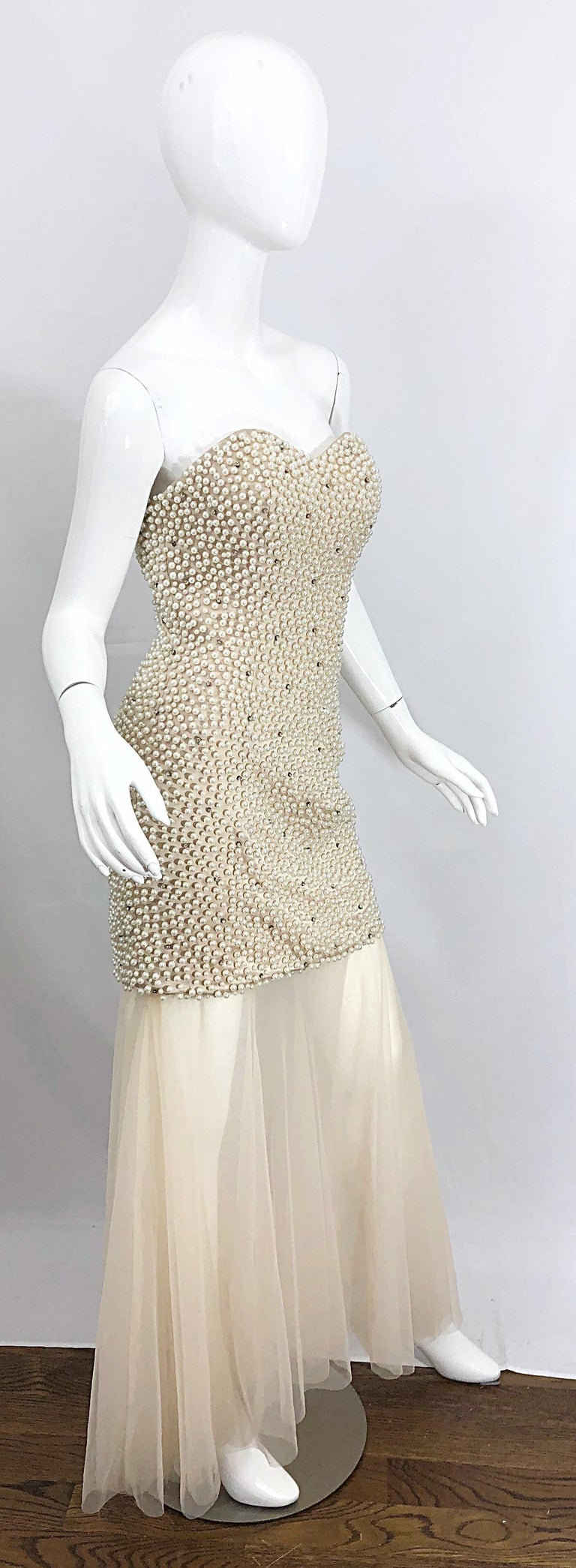 Phenomenal 1990s Couture Pearl + Rhinestone Encrusted Strapless Beige 90s Gown For Sale 7