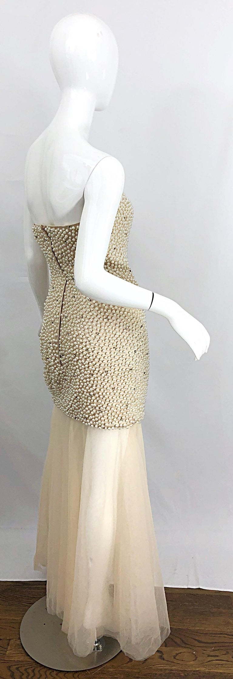 Phenomenal 1990s Couture Pearl + Rhinestone Encrusted Strapless Beige 90s Gown For Sale 8