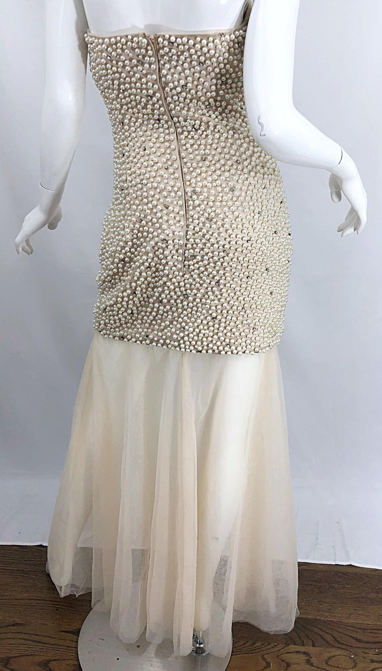 Phenomenal 1990s Couture Pearl + Rhinestone Encrusted Strapless Beige 90s Gown For Sale 10